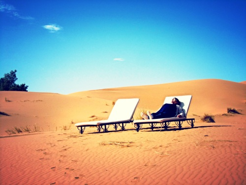 Sun Loungers at Desert Luxury Camp